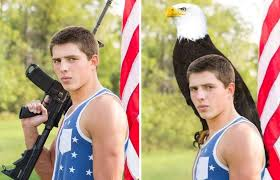 yearbook lookup fargo student replaces gun with eagle to get photo in yearbook