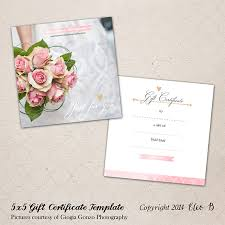 5x5 photography gift certificate photoshop template m001