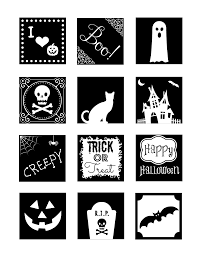 black and white square halloween cupcake toppers the frugal fairy