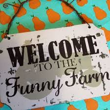 funny welcome welcome to the funny farm wooden sign