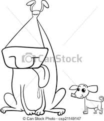 coloring page of a big dog big and small dogs coloring page black and white cartoon eps