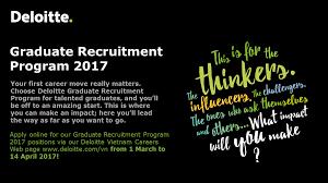 Deloitte Consulting Resume Graduate Recruitment Program 2017 Deloitte Vietnam Audit