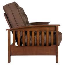 dhp furniture hudson wood arm futon with brown mattress