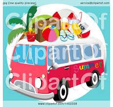 volkswagen bus clipart clipart of a volkswagen van with beach gear royalty free vector