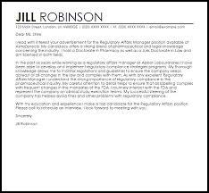 regulatory affairs manager cover letter sample livecareer