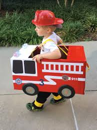 funny kid halloween costume ideas toddler preschool boy fireman fire truck halloween costume