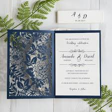 blue wedding invitations botanical navy blue wedding invitations laser cut swws031