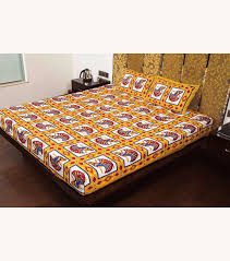Buy Cheap Double Bed Sheets Online India Buy Beige Jaipuri Ghoomar Dance Print Cotton Double Bed Sheet
