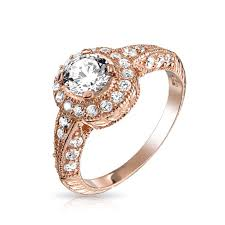 rose gold vermeil art deco halo round cz engagement ring silver
