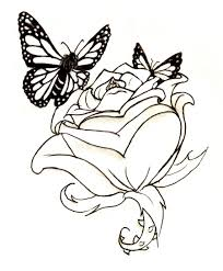butterfly roses tattoo lineart rose and butterflies by waitkc