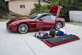 Ferrari California Custom - camping with my teenage son in a ferrari gear patrol