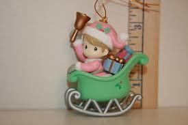 enesco precious moments christmas ornament child in sleigh