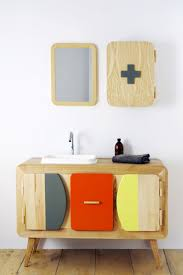 unique wooden colorful vanity with small sink for exciting kids