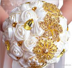 Wedding Flowers Magazine Gorgeous Wedding Bridal Bouquets Ivory Gold Flowers Artificial