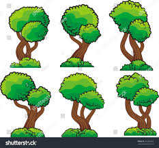 diversity cartoon trees set isolated on stock vector 362083853
