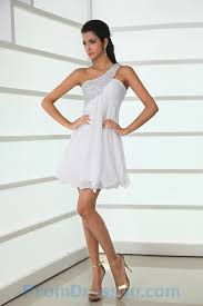buy tailor made tailor made beading one shoulder short white prom