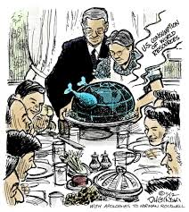 thanksgiving roosevelt this cartoon is a parody of the famous norman rockwell painting