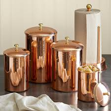 Orange Kitchen Canisters Useful Copper Canisters For The Kitchens Extravagant And
