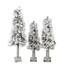 set of 3 flocked woodland alpine artificial trees 3 4