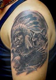 indian chief and wolf on left shoulder tattoos ink