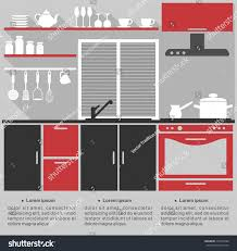 template for kitchen design flat infographic template kitchen interior design stock vector