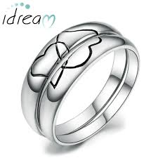 wedding bands for him black interlocking hearts puzzle promise rings for couples