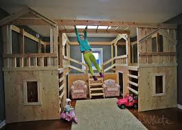 Make Wood Bunk Beds by Ana White Diy Basement Indoor Playground With Monkey Bars Diy