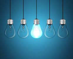 light bulbs idea concept on blue background creadib
