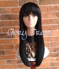 black hair swoop bang ready to ship long straight full wig china bangs side swoop