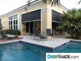 Exterior Patio Blinds Dropshade Patio Drop Shades Motorized Solar Screens And