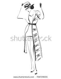 beautiful young model design fashion stock vector 713249641