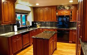 Cherry Wood Kitchen Cabinets With Black Granite Kitchen Island Cherry Wood Cherry Wood Kitchen Cabinets With Black