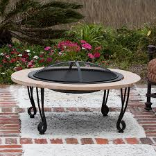 Faux Stone Patio by Amazon Com Fire Sense Fire Pit With Cast Iron Rim Slate Stone
