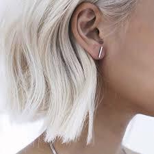 gold bar stud earrings 2016 fashion gold silver simple t bar earrings for women ear
