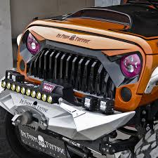 jeep front grill topfire fury series front matte black grille grid grill for jeep