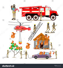 vector icons set firefighter profession people stock vector