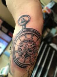 grey ink clocks gears tattoos on half sleeve photos pictures