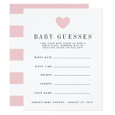 baby shower guessing blush pink baby shower guessing card zazzle