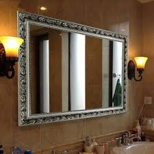 baroque silver rectangular wall mounted large bathroom mirror with