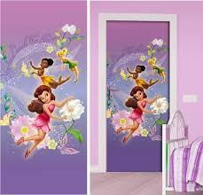 deco fee chambre fille disney fairies décoration murale poster de porte papier