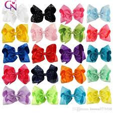 wholesale hair bows 8 inch rhinestone hair bow with clip for school baby children