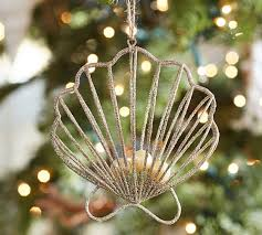 gold wire clam shell ornament pottery barn
