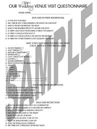 printable wedding planning venue visit questionnaire sheet may - What Is A Wedding Venue