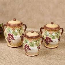 themed kitchen canisters gilded wine grape themed kitchen canister set