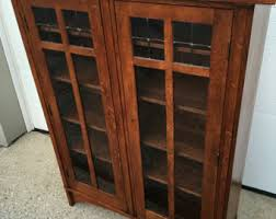 Vintage Bookcase With Glass Doors Antique Bookcase Etsy