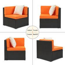Patio Club Chair Black Ikayaa 6pcs Rattan Wicker Outdoor Patio Sectional Sofa Set