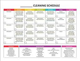 printable house cleaning schedule weekly cleaning schedule template complete housekeeping printable
