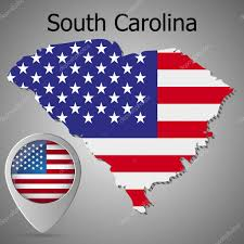 United States Vector Map by South Carolina State Map With Us Flag Inside And Map Pointer With