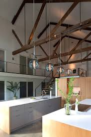 modern kitchen kitchen with beams on ceiling pendant lights for