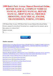 1999 buick park avenue manual repair manual complet vehicle manual